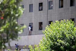 Members of the Iranian security forces are seen outside the Iranian parliament in the capital Tehran on June 7, 2017 during an attack on the complex. The Islamic State group claimed its first attacks in Iran as gunmen and suicide bombers killed at least five people in twin assaults on parliament and the tomb of the country's revolutionary founder in Tehran.Photo by Vahabzadeh FarsNews/ParsPix/ABACAPRESS.COM