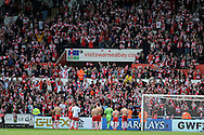 Southampton 's players applaud their supporters at end of match. Barclays Premier league match, Swansea city v Southampton at the Liberty stadium in Swansea, South Wales on Saturday 3rd May 2014.<br /> pic by Andrew Orchard, Andrew Orchard sports photography.