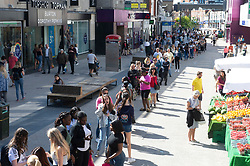 ©Licensed to London News Pictures 15/06/2020<br /> Bromley, UK. Hundreds of people queuing for hours halfway down Bromley high street for Primark in Bromley, South East London. Shops around the UK have reopened their doors today after three months on Coronavirus lockdown. Photo credit: Grant Falvey/LNP
