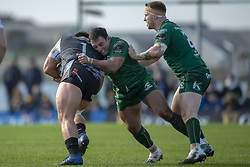 March 2, 2019 - Galway, Ireland - Jordan Lay of Ospreys tackled by Denis Buckley of Connacht during the Guinness PRO 14 match  between Connacht Rugby and Ospreys at the Sportsground in Galway, Ireland on March 2, 2019  (Credit Image: © Andrew Surma/NurPhoto via ZUMA Press)