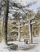 Machine colourised Pagoda and Entrance to Large Temple, Nikko frontispiece from the book ' Rambles in Japan : the land of the rising sun ' by Tristram, H. B. (Henry Baker), 1822-1906. Publication date 1895. Publisher New York : Revell