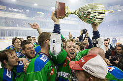 Ales Music of Olimpija and other players of Olimpija celebrate after they became Slovenian National Champion 2016 after winning during ice hockey match between HDD Telemach Olimpija and HDD SIJ Acroni Jesenice in Final of Slovenian League 2015/16, on April 11, 2016 in Hala Tivoli, Ljubljana, Slovenia. Photo by Vid Ponikvar / Sportida