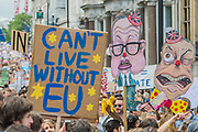 Farage and Gove charicatures made by a disgruntled artist amidst the sea of creative banners and placards- A march for Europe brings out thousands of remain supporters who march from Hyde Park to Parliament Square.