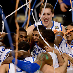 Apr 2, 2012; New Orleans, LA, USA; Kentucky Wildcats forward Anthony Davis (23) celebrates with with teammates after defeating the Kansas Jayhawks 67-59 in the finals of the 2012 NCAA men's basketball Final Four at the Mercedes-Benz Superdome. Mandatory Credit: Derick E. Hingle-USA TODAY SPORTS