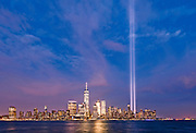 Tribute in Light, presented by Municipal Arts Society, near the 9/11 Memorial Museum. Comprising eighty-eight light bulbs positioned into two 48-foot squares that echo the shape and orientation of the Twin Towers. The illuminated memorial reaches four miles into the sky.
