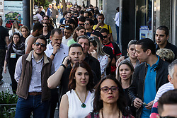 October 7, 2018 - Buenos Aires, Argentina - BUENOS AIRES, AR - 07.10.2018: ELEIÇÕES 2018 BUENOS AIRES - Row of Brazilian and foreign voters entitled to vote at the Brazilian embassy in the city of Buenos Aires, Argentina. About 7,000 voters across Argentina will vote today. (Credit Image: © Marcelo Machado De Melo/Fotoarena via ZUMA Press)