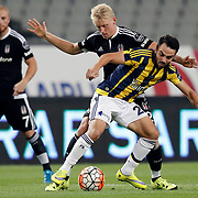 Besiktas's Andreas Beck (C) and Fenerbahce's Volkan Sen (R) during their Turkish Super League soccer derby match Besiktas between Fenerbahce at the Ataturk Olimpiyat stadium in Istanbul Turkey on Sunday, 27 September 2015. Photo by Kurtulus YILMAZ/TURKPIX