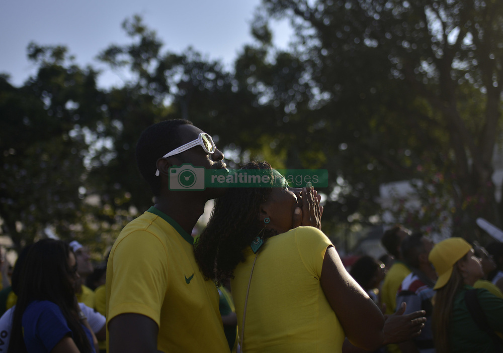 July 6, 2018 - July 06 , 2018 - Rio de Janeiro, Brazil -Brazilian fans suffered with the defeat of the Brazilian National Team to Belgium by 2x1, the Plaza Maua tourist spot known as boulevard olimpico in the center of the city received thousands of people  (Credit Image: © Fabio Teixeira via ZUMA Wire)