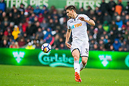 Federico Fernández of Swansea City in action . Premier league match, Swansea city v Leicester city at the Liberty Stadium in Swansea, South Wales on Saturday 21st October 2017.<br /> pic by Aled Llywelyn, Andrew Orchard sports photography.