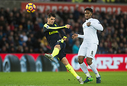 SWANSEA, WALES - Saturday, January 14, 2017: <br /> Arsenal's Granit Xhaka in action against Swansea City during the FA Premier League match at the Liberty Stadium. (Pic by Gwenno Davies/Propaganda)
