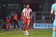Stevenage defender Remeao Hutton(12)  runs forward during the EFL Sky Bet League 2 match between Stevenage and Cheltenham Town at the Lamex Stadium, Stevenage, England on 20 April 2021.