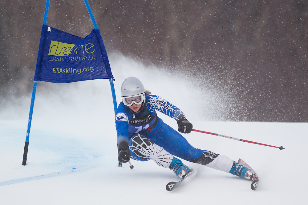 Sierra Leavitt, of Colby College, skis during the first run of the women's giant slalom of the University of Vermont Carnival on January 10, 2014 in Stowe, VT. (Dustin Satloff/EISA)