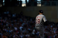 Anibal Sanchez #19 of the Detroit Tigers pitches in the late afternoon light during a game against the Minnesota Twins on June 15, 2013 at Target Field in Minneapolis, Minnesota.  The Twins defeated the Tigers 6 to 3.  Photo: Ben Krause