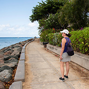 Boardwalk lined with Bougainvillear Flowers in Holetown, Barbados on the West Coast