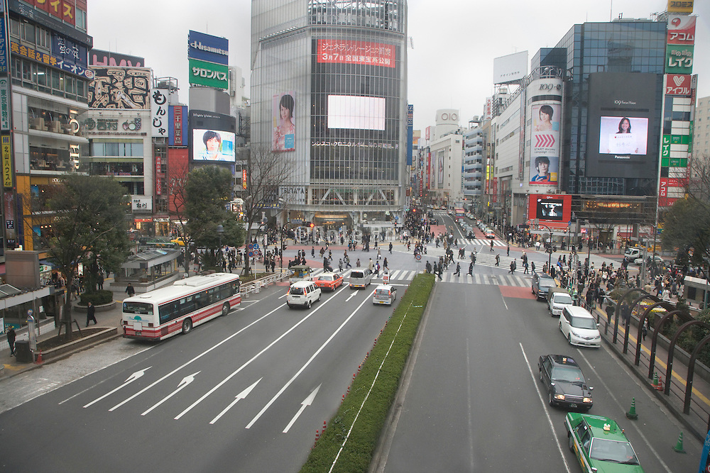 view of the Hachiko pedestrian crossing from Shibuya station