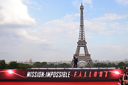 Tom Cruise poses in front of the Eiffel Tower during the Global Premiere of Mission: Impossible - Fallout at Palais de Chaillot in Paris, France on July 12, 2018. Photo by Aurore Marechal/ABACAPRESS.COM