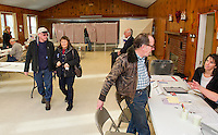 Ward 6 voters at the Leavitt Park Clubhouse during the NH Primary on Tuesday morning. (Karen Bobotas/for the Laconia Daily Sun)