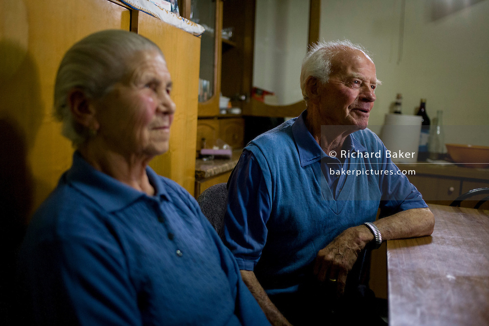 Baldassare and Felicia De Simons, in their kitchen in the village of Somma Vesuviana, in the Red (evacuation) Zone on the western slope of Vesuvius which last erupted in 1945. <br /> <br /> From the chapter entitled 'Under the Volcano' and from the book 'Risk Wise: Nine Everyday Adventures' by Polly Morland (Allianz, The School of Life, Profile Books, 2015).
