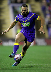 Warrington's Ryan Atkins during the Betfred Super League match at the Halliwell Jones Stadium, Warrington. PRESS ASSOCIATION Photo. Picture date: Thursday February 1, 2018. See PA story RUGBYL Warrington. Photo credit should read: Richard Sellers/PA Wire. RESTRICTIONS: Editorial use only. No commercial use. No false commercial association. No video emulation. No manipulation of images.