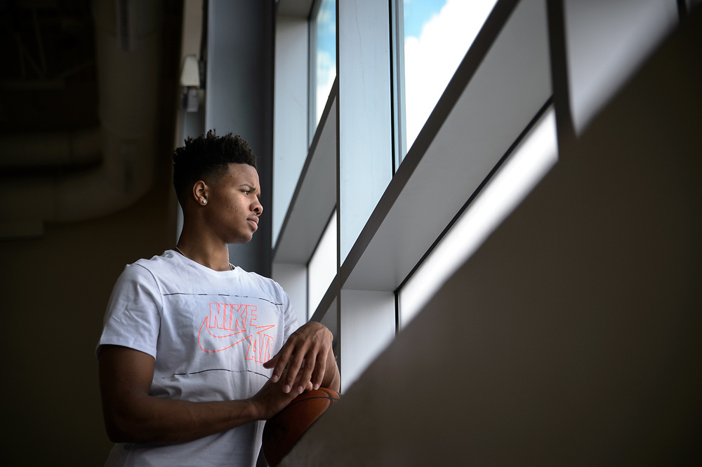 Markelle Fultz, the number one pick in the 2017 NBA Draft, selected by the Philadelphia 76ers, stares out the window of the Riggs-LaSalle recreation center in Northeast Washington, DC on June 27 2017.