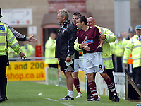 Photo: Kevin Poolman.<br />Northampton Town v Nottingham Forest. Coca Cola League 1. 12/08/2006. Northampton captain Scott McGleish is sent off and has to be held back by a steward.