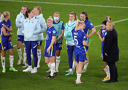 Chelsea manager Emma Hayes (right) and Sophie Ingle in discussion as they wait to collect the runners up medals after the final whistle during the UEFA Women's Champions League final, at Gamla Ullevi, Gothenburg. Picture date: Sunday May 16, 2021.
