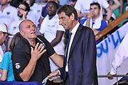DESCRIZIONE : Campionato 2014/15 Serie A Beko Grissin Bon Reggio Emilia - Dinamo Banco di Sardegna Sassari Finale Playoff Gara7 Scudetto<br /> GIOCATORE : Ico Ribichesu Bruno Perra<br /> CATEGORIA : Tifosi Pubblico Spettatori VIP<br /> SQUADRA : Dinamo Banco di Sardegna Sassari<br /> EVENTO : LegaBasket Serie A Beko 2014/2015<br /> GARA : Grissin Bon Reggio Emilia - Dinamo Banco di Sardegna Sassari Finale Playoff Gara7 Scudetto<br /> DATA : 26/06/2015<br /> SPORT : Pallacanestro <br /> AUTORE : Agenzia Ciamillo-Castoria/L.Canu