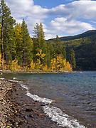 Shore of Lake McDonald northeast of Fish Creek, Glacier National Park, Montana.