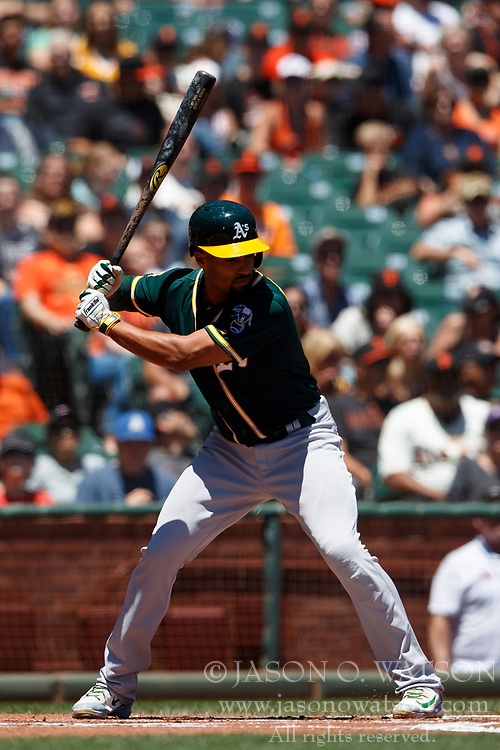 SAN FRANCISCO, CA - JULY 15: Marcus Semien #10 of the Oakland Athletics at bat against the San Francisco Giants during the first inning at AT&T Park on July 15, 2018 in San Francisco, California. The Oakland Athletics defeated the San Francisco Giants 6-2. (Photo by Jason O. Watson/Getty Images) *** Local Caption *** Marcus Semien