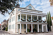 Christmas decorations on the Branford-Horry historic house at Meeting Street in Charleston, SC.