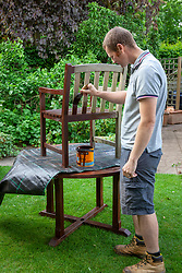 Painting garden furniture with preservative
