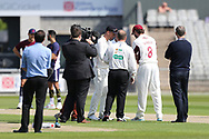 Northants Steelbacks Alex Wakely (Capt) & Lancashires Dane Vilas (Capt) at the toss during the Specsavers County Champ Div 2 match between Lancashire County Cricket Club and Northamptonshire County Cricket Club at the Emirates, Old Trafford, Manchester, United Kingdom on 14 May 2019.