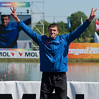 Valentin Demyanenko from Azerbaijan celebrate their victory in the C1 men Canoe 200m final of the 2011 ICF World Canoe Sprint Championships held in Szeged, Hungary on August 21, 2011. ATTILA VOLGYI