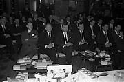 28/12/1962<br /> 12/28/1962<br /> 28 December 1962<br /> Goodbody's Conference at the South County Hotel, Dublin. The conference seems to have been to promote Kleenex for Men tissues, Goodbodys Ltd. may have been the distributers. Note the packets of Carrolls cigarettes who may have been a sponsor. Image shows some of the attendance at the conference.