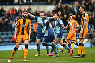 Wycombe Wanderers Adebayo Akinfenwa(20) celebrates after scoring the opening goal during the EFL Sky Bet League 2 match between Wycombe Wanderers and Cambridge United at Adams Park, High Wycombe, England on 10 March 2018. Picture by Alistair Wilson.