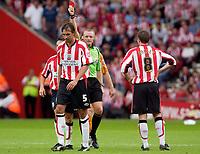 Photo: Daniel Hambury.<br /> Southampton v Wolves. Coca Cola Championship.<br /> 06/08/2005.<br /> Southampton's Claus Lundekvam is sent off.