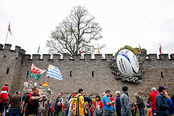 A Rugby Ball in the wall of Cardiff Castle before the match - Mandatory byline: Rogan Thomson/JMP - 07966 386802 - 20/09/2015 - RUGBY UNION - Millennium Stadium - Cardiff, Wales - Wales v Uruguay - Rugby World Cup 2015 Pool A.