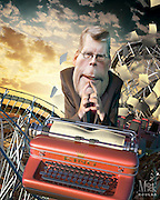 Joyland . . .  a novel of Carny Life . . . and Death. 3D modeling and Photoshop. Caricature Originally Published for Penthouse Full Frontal Entertainment Review.