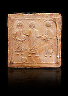 6th-7th Century Eastern Roman Byzantine  Christian Terracotta tiles depicting Christ changing Water into wine - Produced in Byzacena -  present day Tunisia. <br /> <br /> These early Christian terracotta tiles were mass produced thanks to moulds. Their quadrangular, square or rectangular shape as well as the standardised sizes in use in the different regions were determined by their architectonic function and were designed to facilitate their assembly according to various combinations to decorate large flat surfaces of walls or ceilings. <br /> <br /> Byzacena stood out for its use of biblical and hagiographic themes and a richer variety of animals, birds and roses. Some deer and lions were obviously inspired from Zeugitana prototypes attesting to the pre-existence of this province's production with respect to that of Byzacena. The rules governing this art are similar to those that applied to late Roman and Christian art with, in the case of Byzacena, an obvious popular connotation. Its distinguishing features are flatness, a predilection for symmetrical compositions, frontal and lateral representations, the absence of tridimensional atti-tudes and the naivety of some details (large eyes, pointed chins). Mass production enabled this type of decoration to be widely used at little cost and it played a role as ideograms and for teaching catechism through pictures. Painting, now often faded, enhanced motifs in relief or enriched them with additional details to break their repetitive monotony.<br /> <br /> The Bardo National Museum Tunis, Tunisia.  Against a black background.