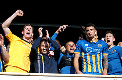 Shrewsbury Town's manager Paul Hurst (second from left) celebrates with goalkeeper Dean Henderson (left) Carlton Morris, Ben Godfrey and James Bolton (right) at the end of the Sky Bet League One play-off second leg match at Montgomery Waters Meadow, Shrewsbury.