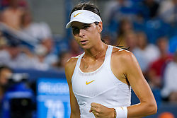 August 15, 2018 - Cincinnati, OH, U.S. - CINCINNATI, OH - AUGUST 15: Ajla Tomljanovic (AUS) celebrates a point during the Western & Southern Open at the Lindner Family Tennis Center in Mason, Ohio on August 15, 2018. (Photo by Adam Lacy/Icon Sportswire) (Credit Image: © Adam Lacy/Icon SMI via ZUMA Press)