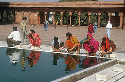 Jami Masjid Mosque in central Old Delhi; India; with women washing,