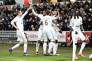 Federico Fernandez of Swansea city (c) celebrates with his teammates after he scores his teams 1st goal. Barclays Premier league match, Swansea city v Aston Villa at the Liberty Stadium in Swansea, South Wales on Saturday 19th March 2016.<br /> pic by  Andrew Orchard, Andrew Orchard sports photography.