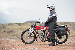 Joe Gimpel of Florida on his Class-1 single-cylinder single-speed 1913 at the Four Corners (the meeting of Utah, Colorado, New Mexico and Arizona) during the Motorcycle Cannonball Race of the Century. Stage-11 ride from Durango, CO to Page, AZ. USA. Wednesday September 21, 2016. Photography ©2016 Michael Lichter.
