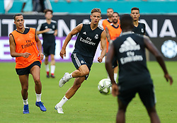 July 30, 2018 - Miami Gardens, Florida, USA - Real Madrid C.F. midfielder Marcos Llorente (center) during an open training session for the International Champions Cup match between Real Madrid C.F. and Manchester United F.C. at the Hard Rock Stadium in Miami Gardens, Florida. (Credit Image: © Mario Houben via ZUMA Wire)