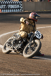 "Misumi Takemine racing the number 24 Brat Style Harley-Davidson 1947 WL 45"" Flathead at the Okie Dokie Vintage Races put on by Go Takamine's Brat Style at West Point Off-Road Village, Kawagoe, Saitama, Japan. Tuesday, December 4, 2018. Photography ©2018 Michael Lichter."