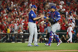 October 6, 2017 - Washington, DC, USA - Chicago Cubs pitcher Wade Davis, left, and catcher Willson Contreras (40) celebrate the final out in a 3-0 win against the Washington Nationals in Game 1 of the National League Division Series on Friday, Oct. 6, 2017, at Nationals Park in Washington, D.C. (Credit Image: © Brian Cassella/TNS via ZUMA Wire)