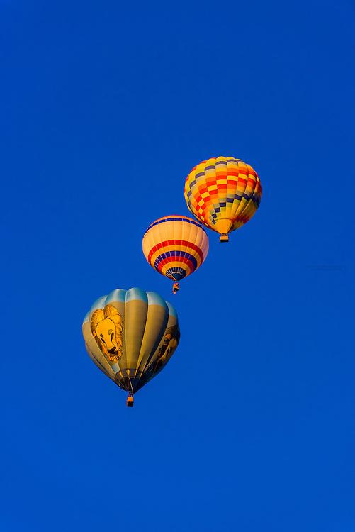 Hot air balloons in flight, Albuquerque International Balloon Fiesta, Albuquerque, New Mexico USA.