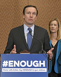 October 3, 2017 - Washington, District of Columbia, United States of America - United States Senator Chris Murphy (Democrat of Connecticut) makes remarks at a press conference to discuss gun violence in wake of Las Vegas shooting in the US Capitol in Washington, DC on Tuesday, October 3, 2017.  Murphy renewed his call for new laws to close the ''Gun Show Loophole'' that allows people to purchase guns if their background checks are incomplete.  Looking on from the right is Avery W. Gardiner, Co-President, the Brady Campaign to Prevent Gun Violence. .Credit: Ron Sachs / CNP (Credit Image: © Ron Sachs/CNP via ZUMA Wire)