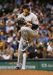 May 8, 2018 - Milwaukee, WI, U.S. - MILWAUKEE, WI - MAY 08: Cleveland Indians Pitcher Evan Marshall (50) delivers a pitch during a MLB game between the Milwaukee Brewers and Cleveland Indians on May 8, 2018 at Miller Park in Milwaukee, WI. The Brewers defeated the Indians 3-2.(Photo by Nick Wosika/Icon Sportswire) (Credit Image: © Nick Wosika/Icon SMI via ZUMA Press)